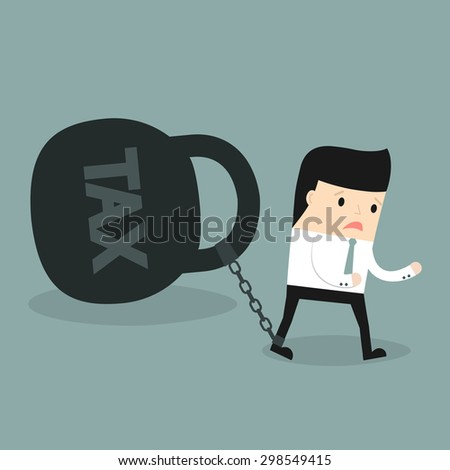 Business situation. Businessman pulling a weight with nadpicyu: TAX. The symbol of high taxes. Vector illustration. - stock vector