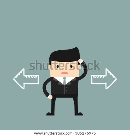 Business situation.Businessman thinking which way to go. Vector illustration. - stock vector