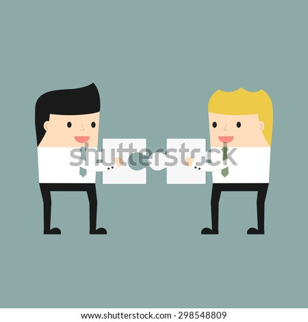 Business situation. Businessmen folded puzzle. The symbol of a successful collaboration. Vector illustration. - stock vector