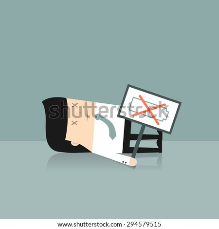 Business situation. Tired businessman is holding a sign: No battery. Vector illustration. - stock vector
