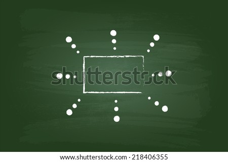 Business Sketch Flow Chart Rectangles Graphic On Green Board - stock vector