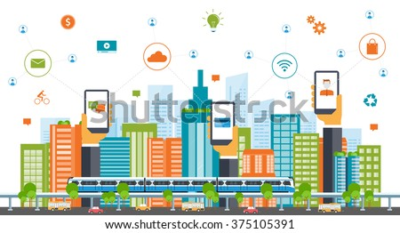 business smart city concept .business communication.city life.Capital.downtown.electric train. transportation. color full building.  - stock vector