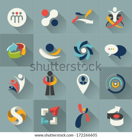 Business social relationship people and communication web Icons set and vector logos - stock vector