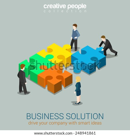 Business solution smart idea concept flat 3d web isometric infographic vector. Four businessmen solving pushing pieces of puzzle. Creative people collection. - stock vector