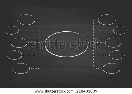 Business Solutions Flow Chart Circles Hand Drawn On Blackboard - stock vector
