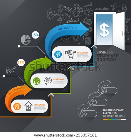 Business staircase doorway conceptual infographics. Vector illustration. Can be used for workflow layout, banner, number options, step up options, web design, diagram, timeline. - stock vector