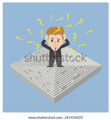 Business stand on maze. - stock vector