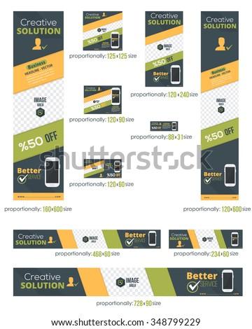 Business Standard 10 Sizes Website Banners Template Set - stock vector