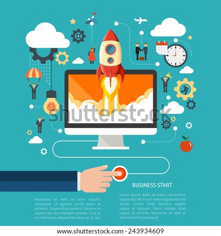 Business start up concept with rocket. Flat design vector illustration with humans, gears and development icons.  - stock vector