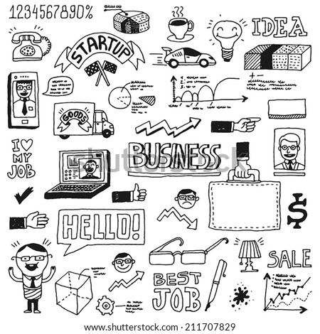 Business startup doodle sketch concept set 1. Hand drawn vector illustration. - stock vector
