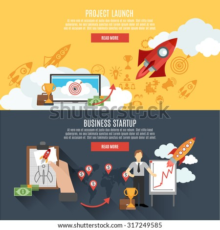 Business startup project launch two horizontal banners webpage interactive design with rocket flat abstract isolated vector illustration - stock vector
