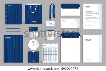 Business stationery set template corporate identity stock vector hd business stationery set template corporate identity design mock up with blue vertical striped background spiritdancerdesigns Gallery