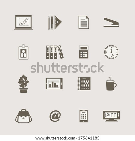 Business stationery supplies internet collection of laptop email coffee and backpack isolated vector illustration - stock vector