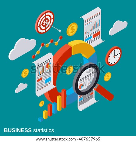 Business statistic, analytics, report, financial audit flat isometric vector concept illustration