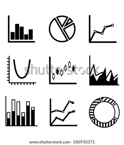 Business statistical charts and graphs with a pie graph, bar graphs, arrow graphs and flow chart showing various performance trends - stock vector