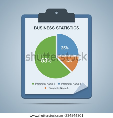 Business statistics clipboard with pie chart diagram. Vector illustration. - stock vector