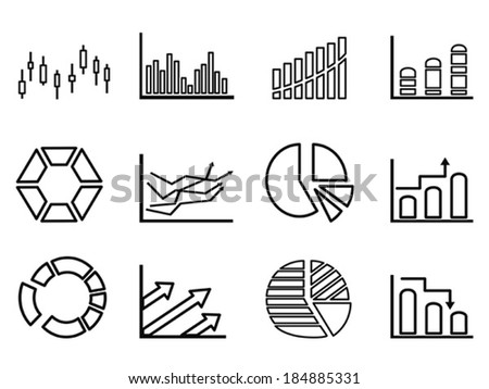 business statistics outline icon set - stock vector