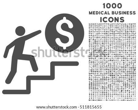 Business Steps vector icon with 1000 medical business icons. Set style is flat pictograms, gray color, white background.