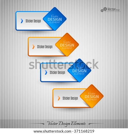 Business stickers on the gray background for infographics webdesigns ets. Vector design elements. - stock vector