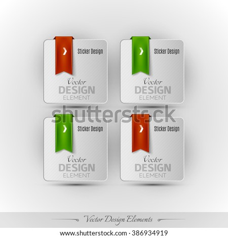 Business stickers on the gray background. Vector design elemnts for infographics and web presentations.