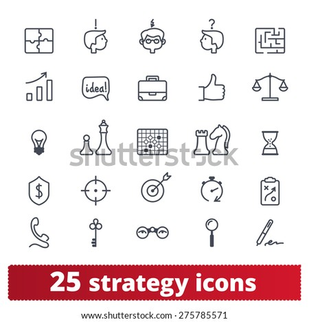 Business strategy and management icons: vector set of web and application signs. - stock vector