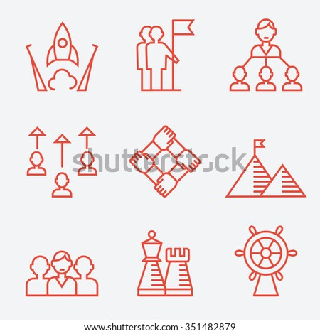 Business strategy and teamwork icons, thin line flat design - stock vector