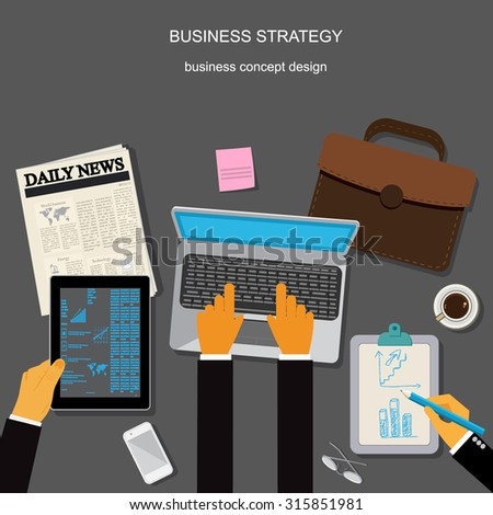 business strategy,  business concept, apps, vector illustration in flat design for web sites, Infographic design, apps, banner - stock vector