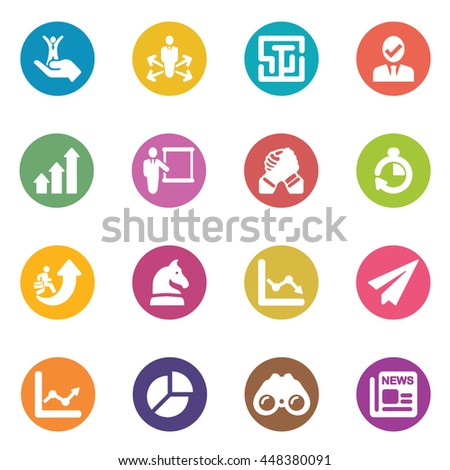 Business Strategy Circle Colour Harmony icons - stock vector