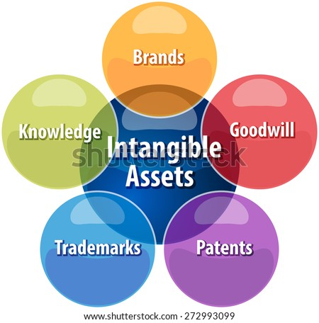 business strategy concept infographic diagram illustration of intangible assets types vector - stock vector