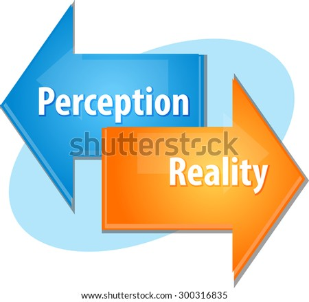 Business strategy concept infographic diagram illustration of Perception Reality point of view - stock vector