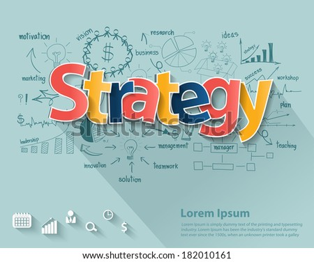 Business strategy concept, With creative drawing charts and graphs business strategy plan concepts and ideas, workflow layout, diagram, step up options, Vector illustration modern template design - stock vector
