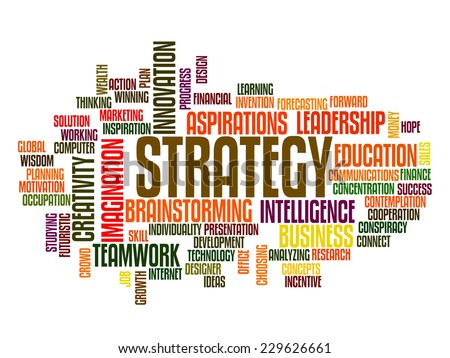 business strategy concept word cloud - stock vector