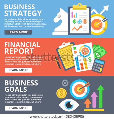 Business strategy, financial report, business goals flat illustration concepts set. Creative modern flat design concept for web banners, web sites, printed materials, infographics. Vector illustration - stock vector