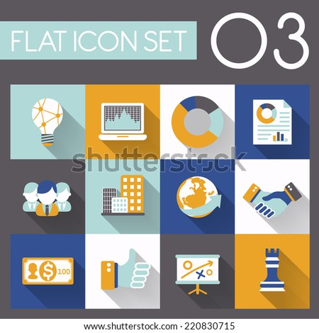business strategy icon set in flat design - stock vector