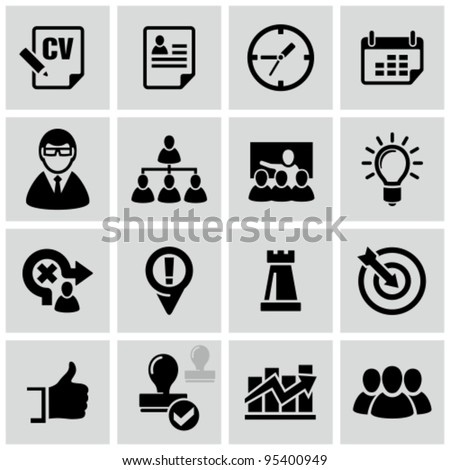 Business strategy icons set. - stock vector