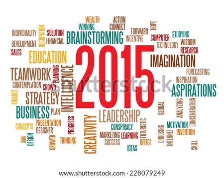 business strategy in 2015 concept word cloud - stock vector