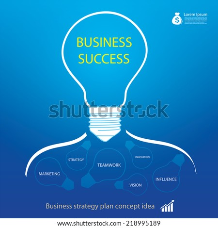 business strategy in light bulb - stock vector