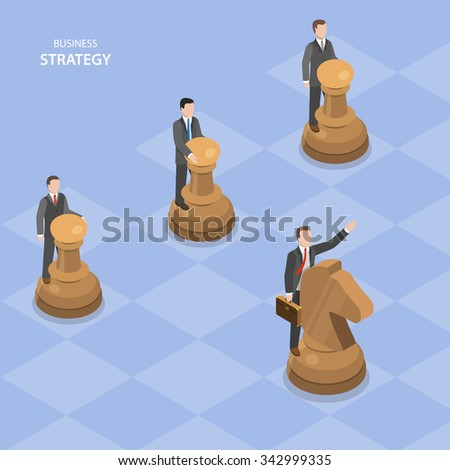 Business strategy isometric flat vector concept. Businessmen guide chess figures, one on horse leads others. - stock vector