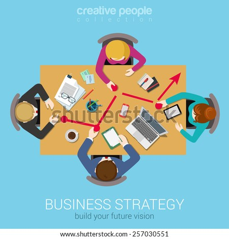 Business strategy line graphic report creative team brainstorming flat top table view web concept. Group of people moving points to chart. Data analysis, corporate reporting website banner conceptual. - stock vector
