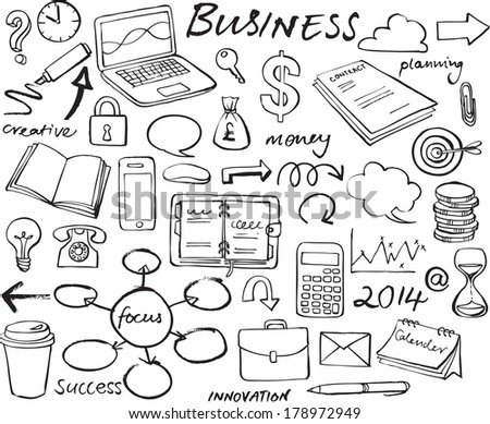 Business strategy vector doodle icon set - stock vector