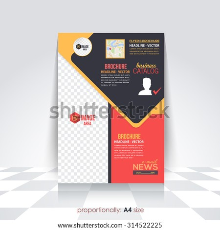 Business Style A4 Flyer and Brochure Design. Catalog Cover Template, Corporate Leaflet Template  - stock vector
