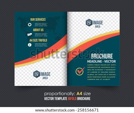 Business Style Bi-Fold Brochure. Corporate Leaflet, Cover, Flyer Design - stock vector