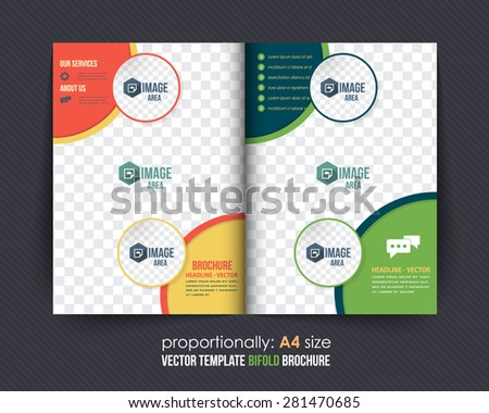 Business Style Bi-Fold Brochure Design. Corporate Leaflet, Cover Design Template - stock vector