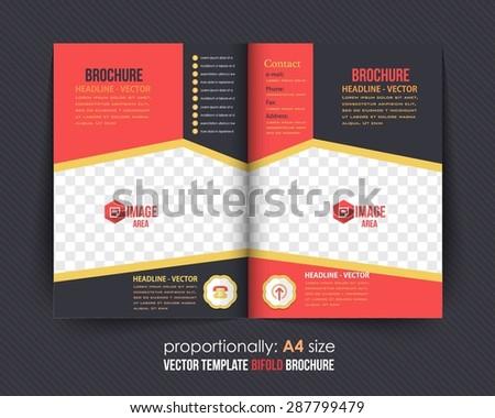 Business Style Bi-Fold Brochure Design. Corporate Leaflet, Cover Design Template - stock vector