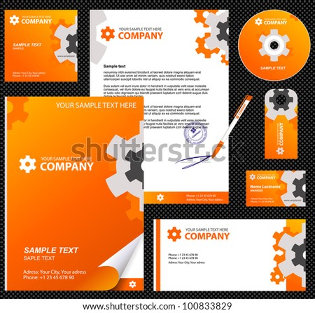Business style, corporate identity template 8 (orange industrial):  blank, card, pen, cd, note-paper, envelope - stock vector