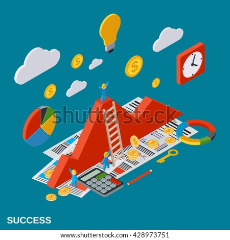 Business success, analytics, report, financial statistic, growth flat isometric vector concept illustration - stock vector