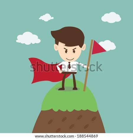 Business Success,business man success on top of mountain - stock vector