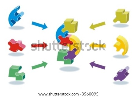 Business success concept - pieces of success - every piece counts ( for high res JPEG or TIFF see image 3560138 )  - stock vector
