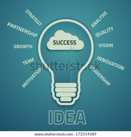 business success concept  with cloud and ladders inside the light bulb, eps10 vector background - stock vector