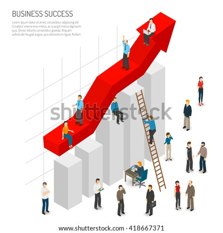 Business success poster of abstract diagram with red arrow growth and people around it isometric vector illustration - stock vector
